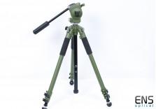Manfrotto 128RCNAT Heavy Duty Tripod & Head Green - Birding & Spotting Scopes