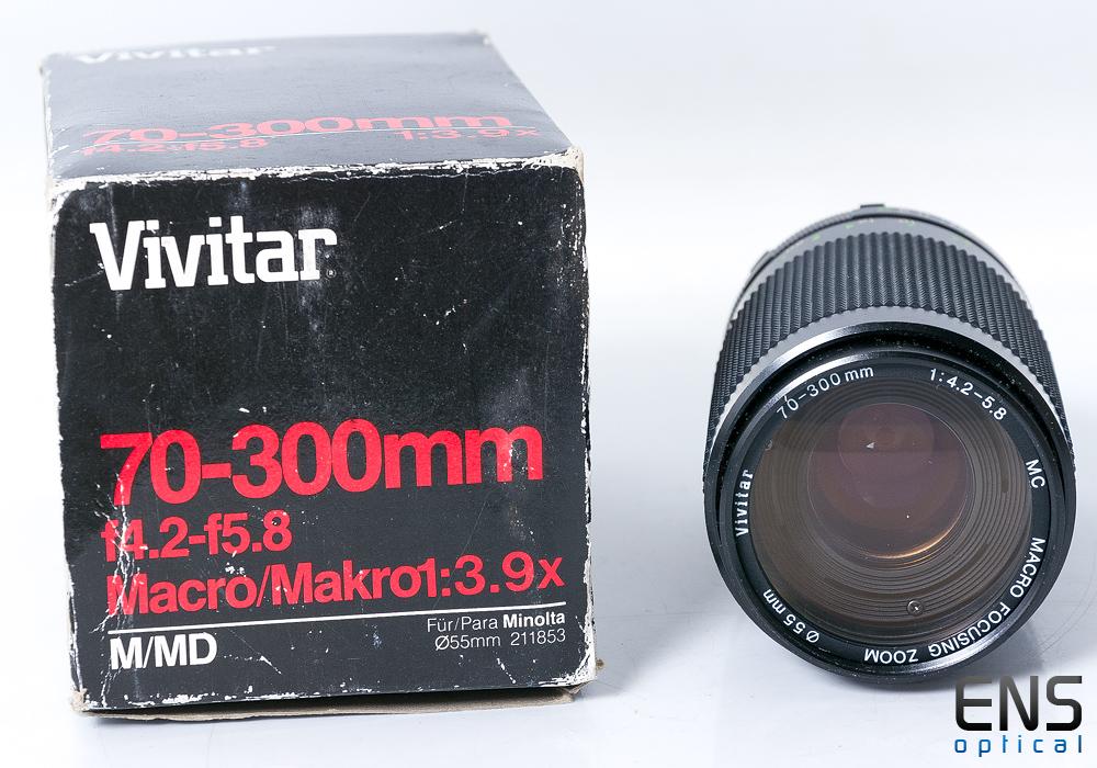 Vivitar 70-300mm F/4.2-5.8 Zoom Lens Minolta MD Filt 96601149  - *READ*