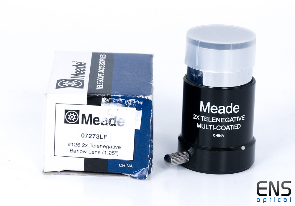 "Meade Series 4000 #126 2X Short-Focus Barlow Lens (1.25"") boxed"