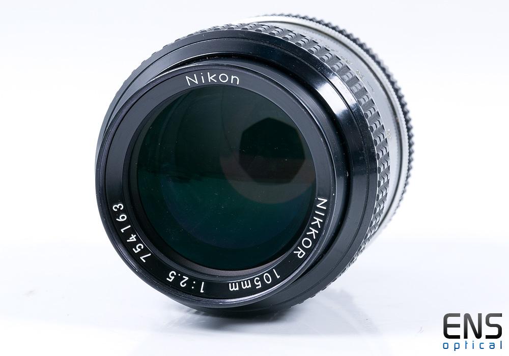 Nikon 105mm f/2.5 Nikkor Ai fast prime lens Superb!- 754163 JAPAN